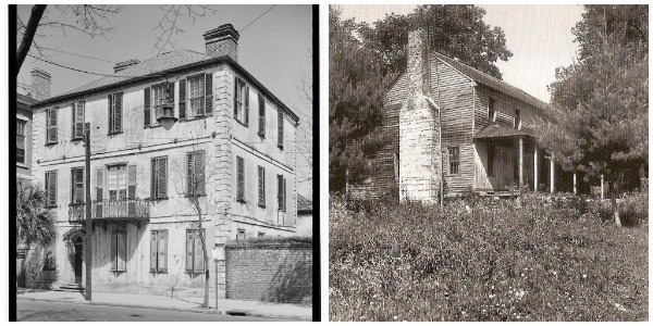 Left: William Harvey House (ca 1757) at 110 Broad Street, Charleston (photographer Charles N. Bayless, 1933, HABS, LOC). Right: Summer home of Joel & Mary Poinsett in Greenville County, no longer standing (William B. Coxe Collection, Greenville County Historical Society).