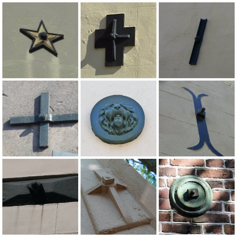 Earthquake bolts in Charleston can be seen in many different designs.
