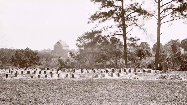 1865 view of the Union soldiers graves at Washington Race Course