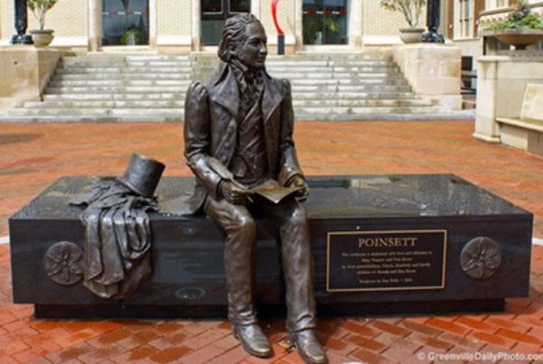 Joel Poinsett sculpture in downtown Greenville, SC. Photo: GreenvilleDailyPhoto.com.