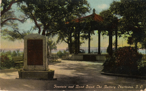 Fountain and Band Stand, The Battery, Charleston, SC. Public Domain via WikiCommons