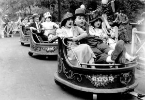 Fatty Arbuckle rides The Whip at Luna Park, Coney Island.