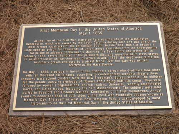 First Memorial Day in US Plaque