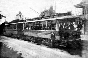 Seashore Railroad trolley car on Sullivan's Island, ca. 1899. Photo SCE&G.